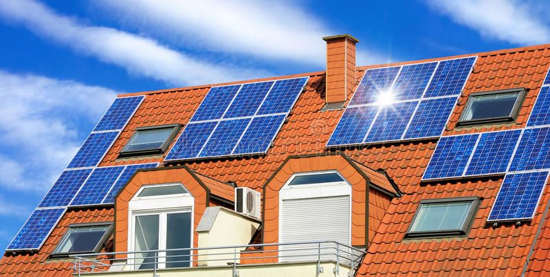 Solar Panel On A Red Roof With White Clouds And The Reflection Of The Sun Spon Red Roof Solar Pane Solar Panels Best Solar Panels Residential Solar