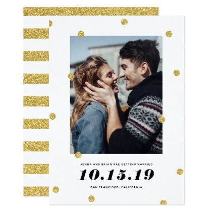 Shimmer Dots Photo Save The Date Card - glitter glamour brilliance ...
