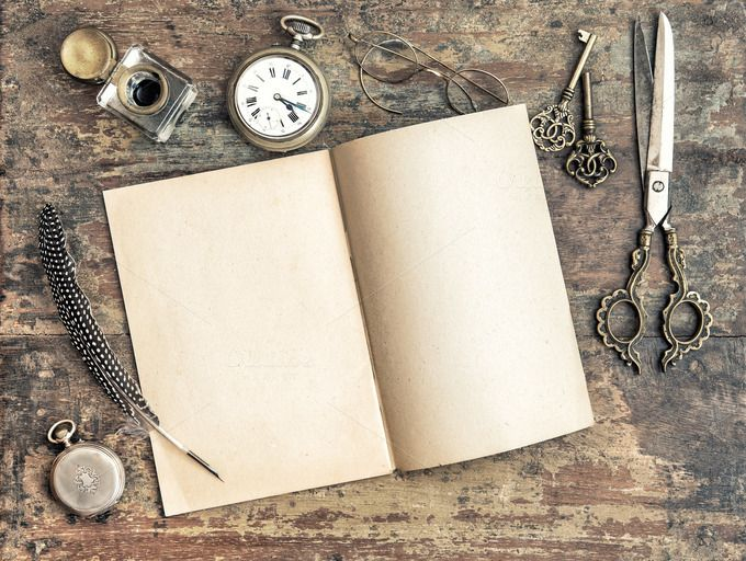 Antique book and office tools by LiliGraphie on
