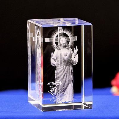 3d Jesus Crystal Mini Table Night Light Laser Art Engraved Crystal Crystal Art