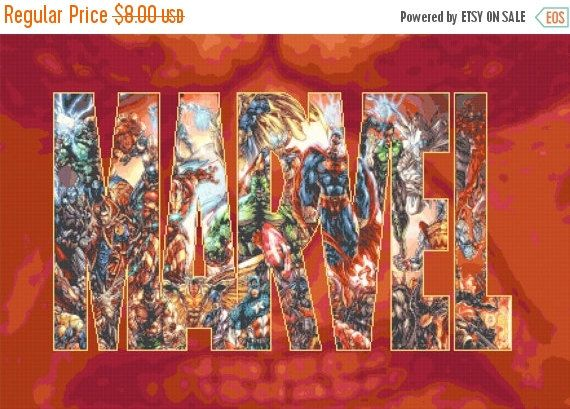 """ON SALE Counted Cross Stitch Pattern PDF chart - Marvel logo  with characters - 31.50"""" x 20.71"""" - L952"""