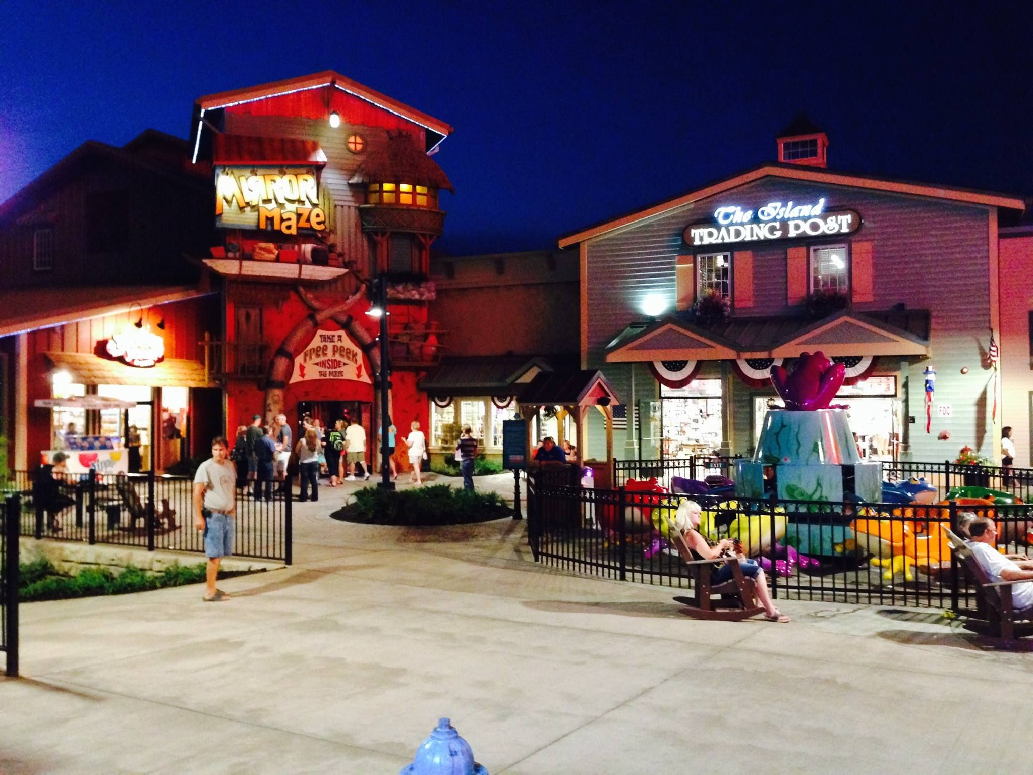 The Island In Pigeon Forge Lit Up At Night Pigeon Forge Vacation Gatlinburg Smoky Mountain Cabin Rentals