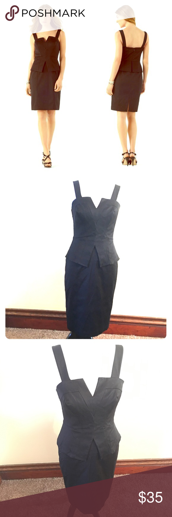 """WHBM FAILLE PEPLUM SHEATH DRESS Excellent condition!  Black faille adds structure to the architectural lines of this sleek dress with a notched neckline and satin-lined, cut-away peplum. Shell: 65% Rayon, 33% Cotton, 2% Spandex. Dry clean. Imported. * Hourglass silhouette. * Princess-seamed bodice and pencil skirt. Seamed waist with flared peplum. Hidden back zip with hook-and-eye closure. 7"""" back vent.  * Two-button adjustability for straps. Reverse charmeuse lining (silky side to skin)…"""