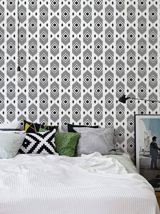 Monochrome Aztec Wallpaper Black And White Removable Self Adhesive Wall Covering 131