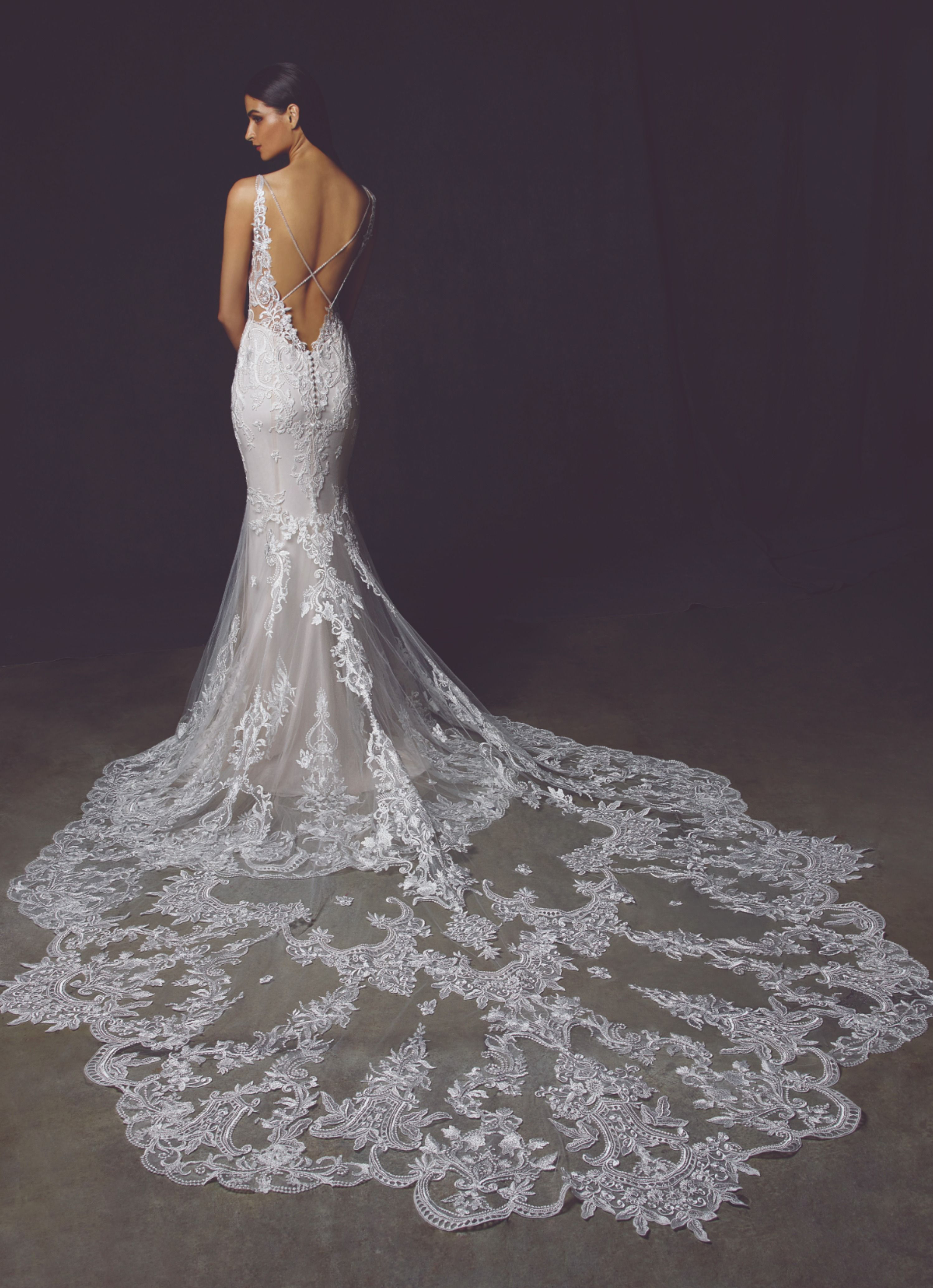Low Back Lace Mermaid Wedding Dress With Statement Train Enzoani Wedding Dresses Wedding Dresses Enzoani Wedding Gowns [ 4133 x 2996 Pixel ]