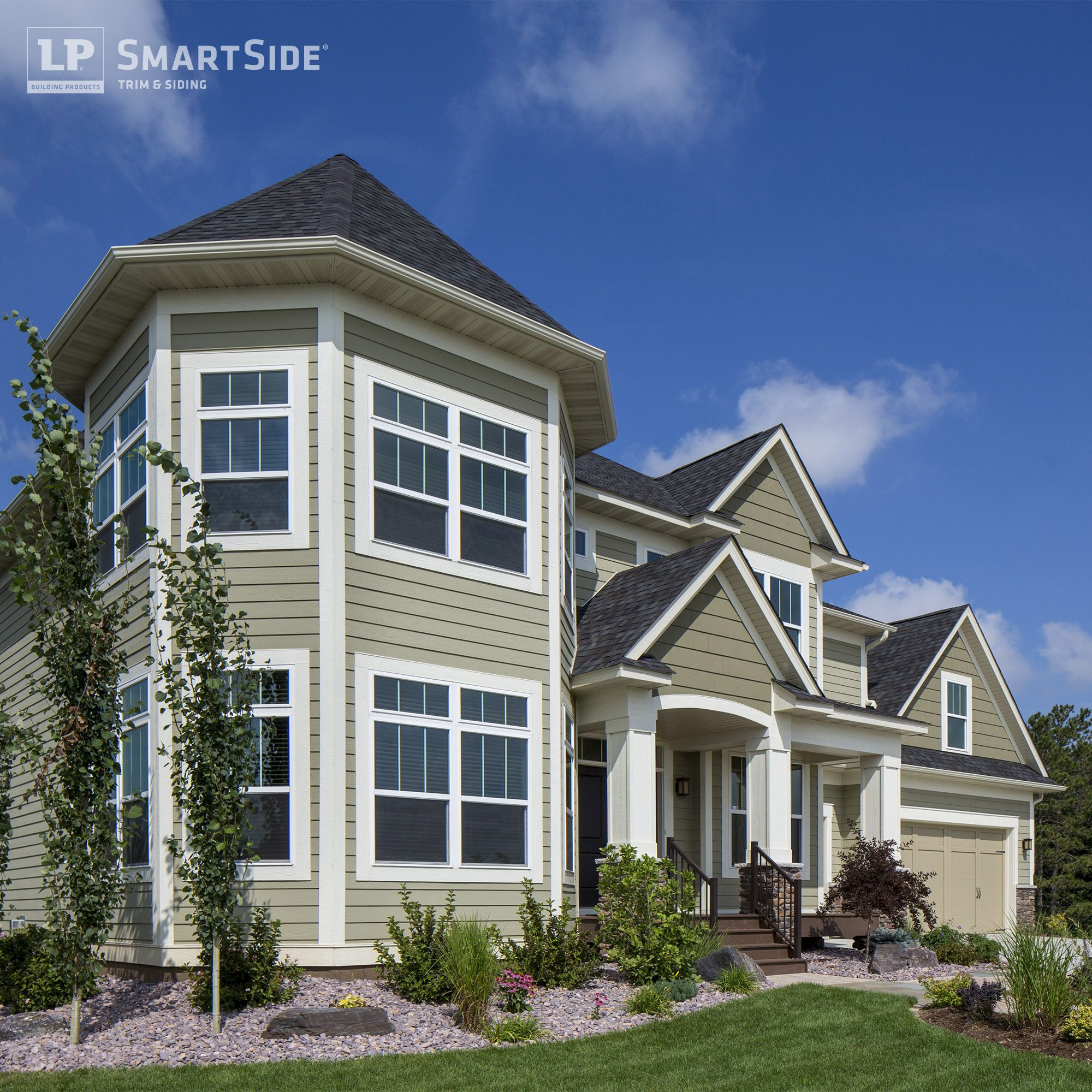 Lp smartside trim siding in custom paint colors herbal for Homes with wood siding