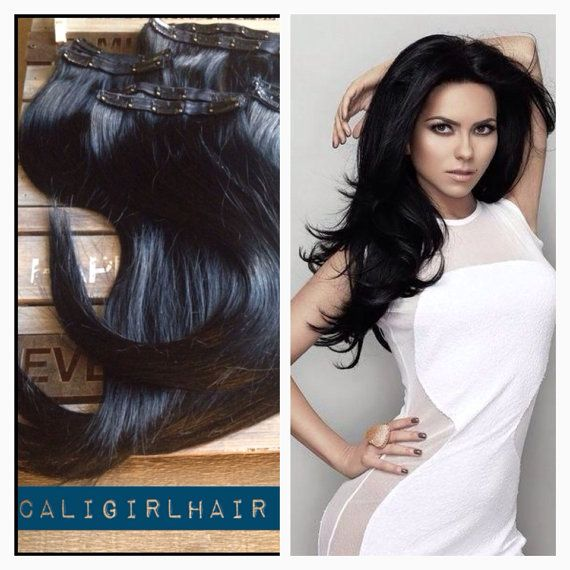 1618 Luxury Clip In Hair Extensions 220grams Almost Black On Etsy