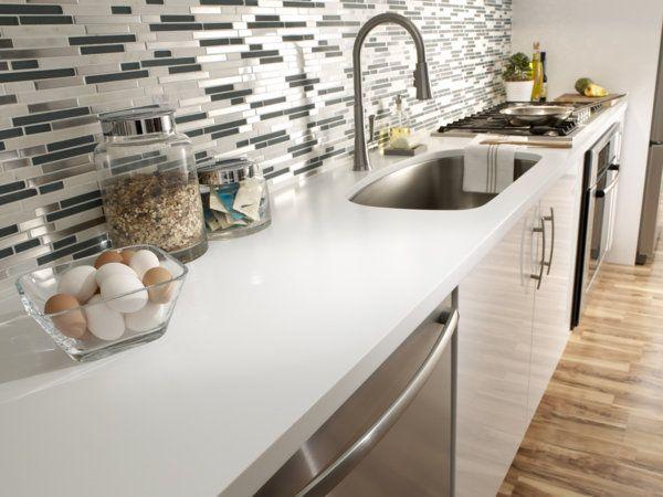 Corian Designer White Kitchen Countertop And Sink