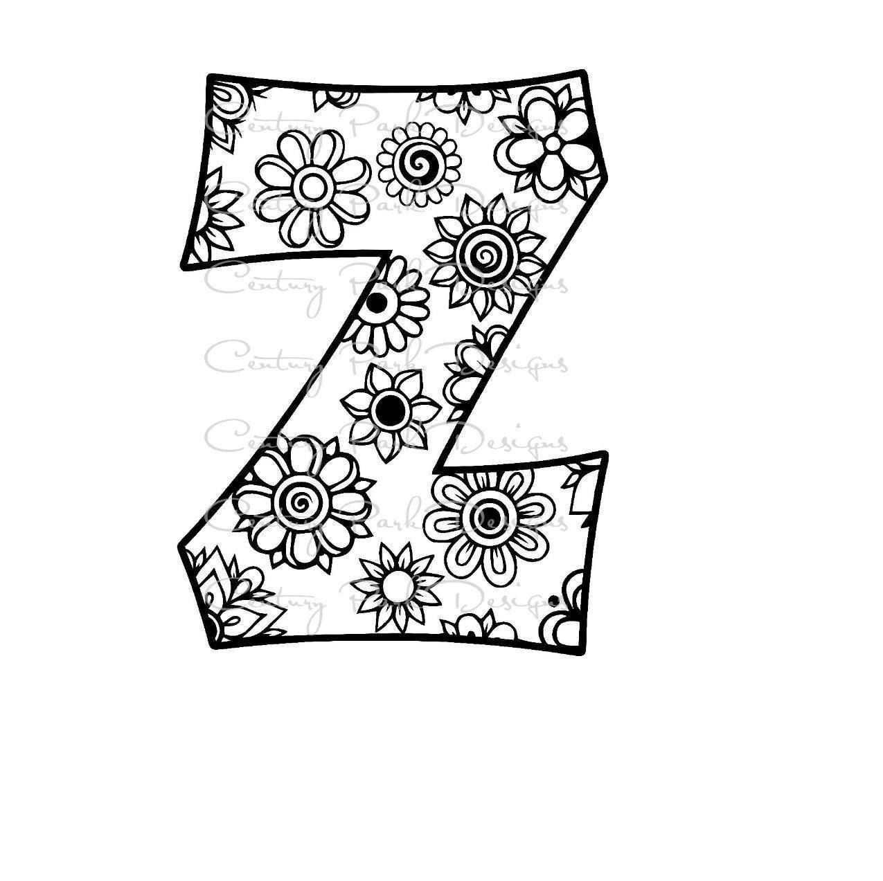 Letter Z Alphabet Flowers Svg Jpeg Png Pdf Use With