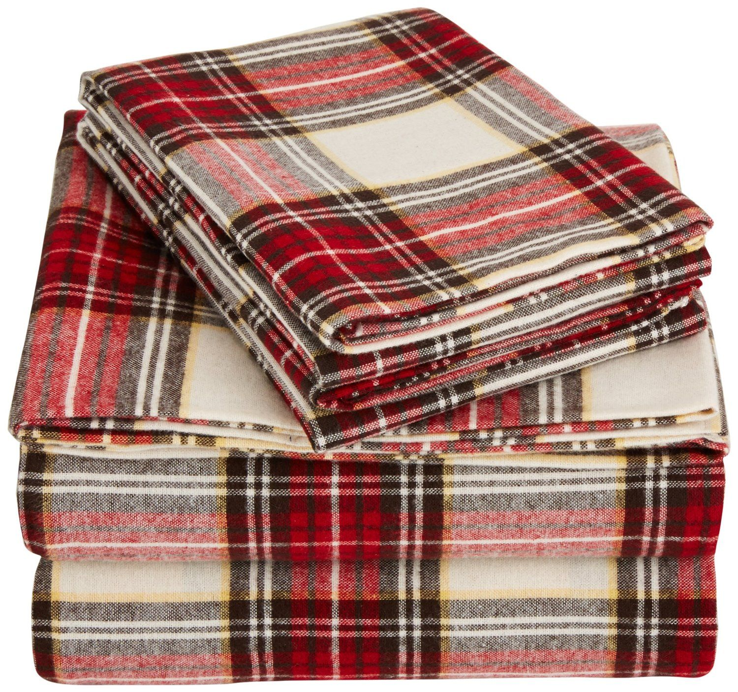 flannel sheet set queen creamred plaid - Flannel Sheets Queen