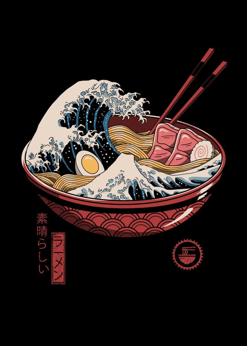 Great Ramen Wave Food & Kitchen Poster Print | metal posters - Displate | Displate thumbnail