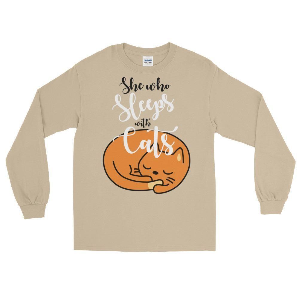 She Who Sleeps With Cats Long Sleeve T-Shirt