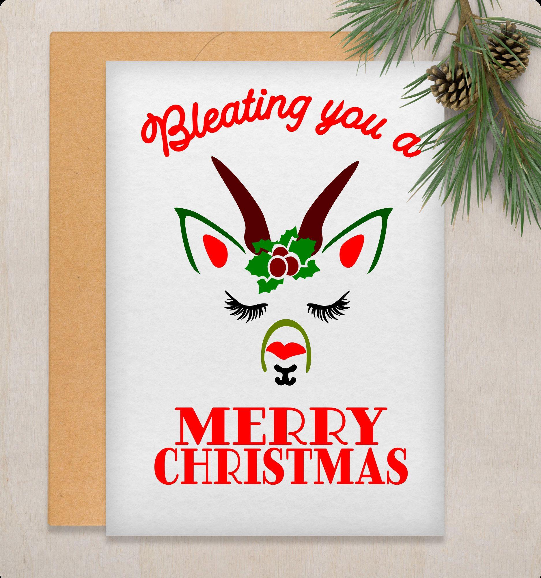 Printable Christmas Card Picture Printable Goat Art Printable Goat