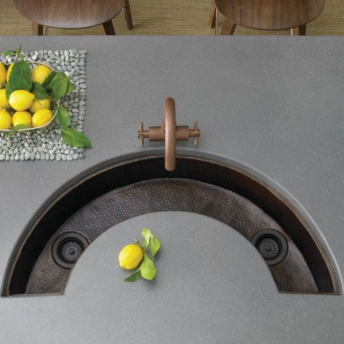 Luna Hand Hammered Copper Bar And Prep Trough Sink Available In Antique Copper Finish Or Brushed Nickel Finish With Images Sink Copper Bar Sink Bar Sink