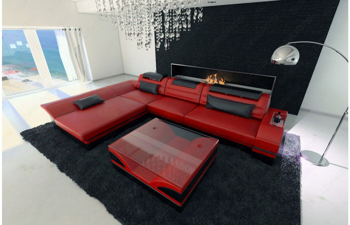 ecksofa monza ledersofa. Black Bedroom Furniture Sets. Home Design Ideas