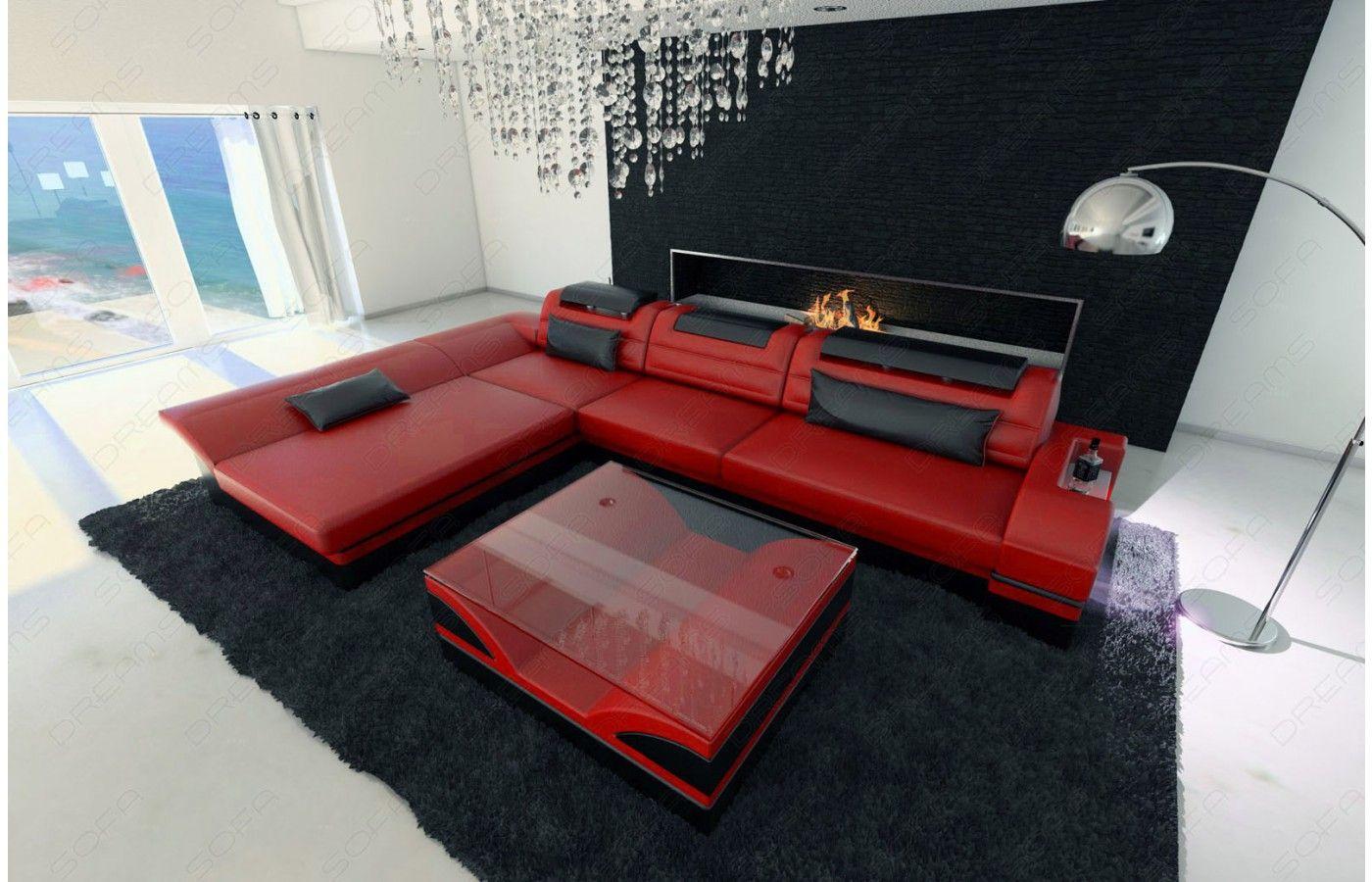 Designer Ledersofa Monza L Form In Rot-schwarz - Exklusiv Bei ... Couch L Form