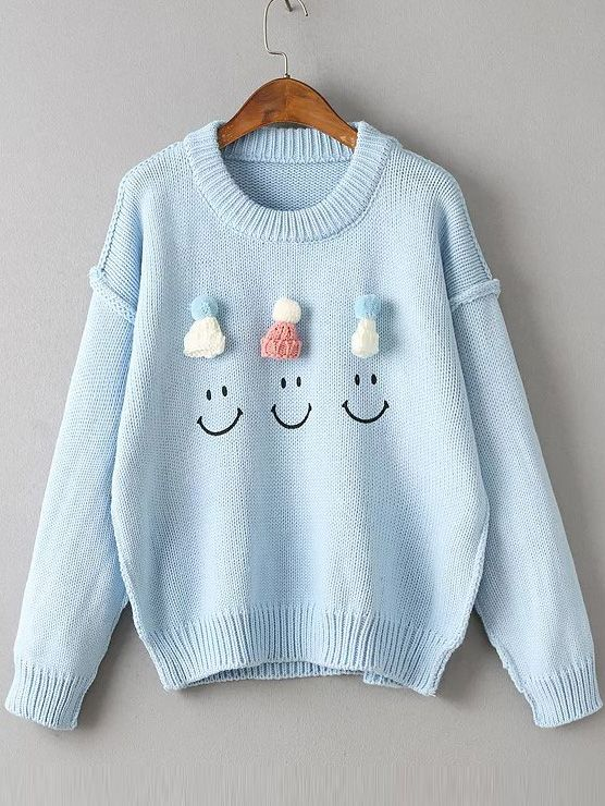 Blue Hat Embellished Drop Shoulder Cute Sweater | Shoulder, Color ...