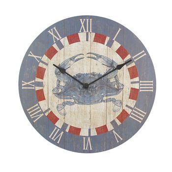 Home Goods Wall Clocks 12 inch diameter blue crab kitchen wall clock nautical $24.99