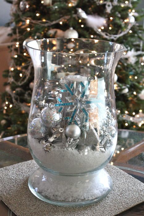 Glass Hurricane From Goodwill Filled With Christmas Ornaments