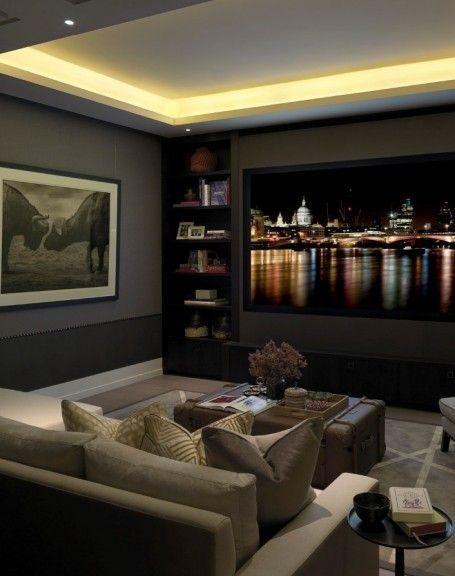 Projector Setup, Living Room Lighting Ceiling, Lounge Lighting, Home  Theater Lighting, Basement
