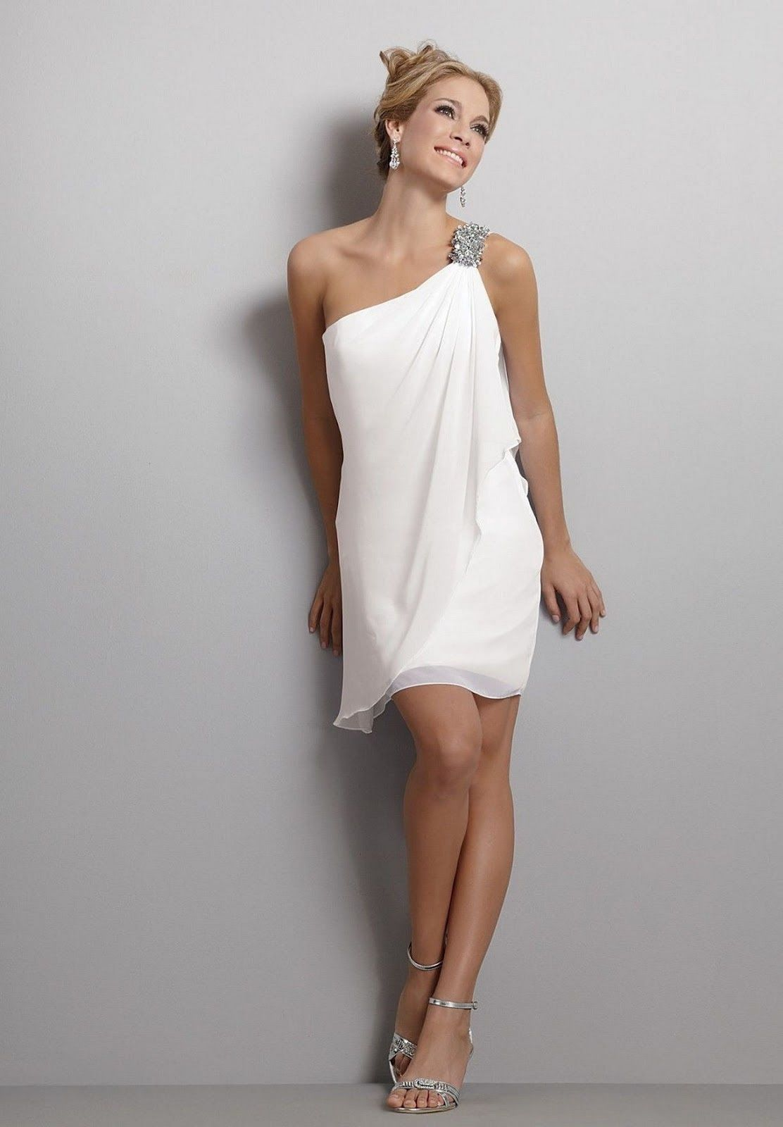 Simple informal short chiffon wedding dress for older brides over