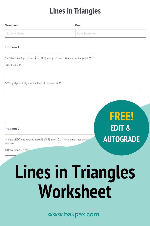 Free Lines In Triangles Geometry Worksheet Geometry Worksheets Worksheets Online Learning [ 1500 x 1000 Pixel ]