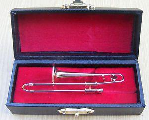 1:12 Scale Metal Trombone In A Black Case Tumdee Dolls House Music Instrument 57