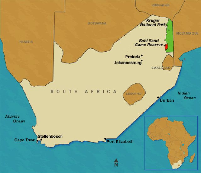 Map Of South Africa showing Kruger and Sabi Sand My Personal