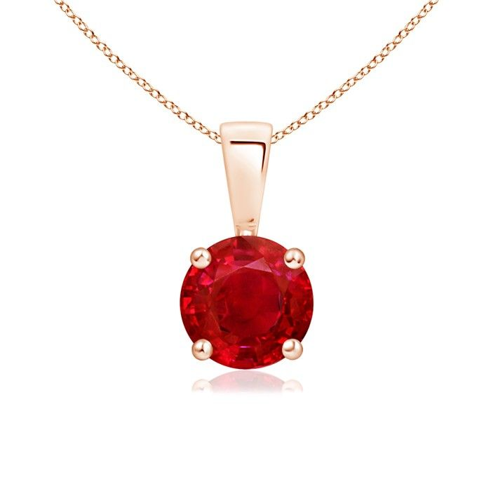 Angara Solitaire Round Natural Ruby Pendant with Diamond in 14k Yellow Gold