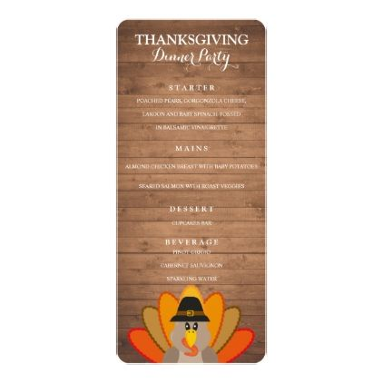 Thanksgiving Dinner Party menu template - thanksgiving invitations - dinner party menu template