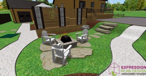 espace foyer ext rieur dans un environnement rustique pas. Black Bedroom Furniture Sets. Home Design Ideas