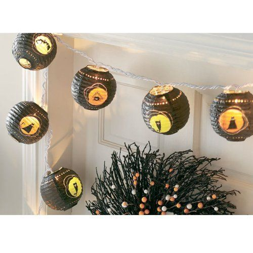 """Halloween Critters Paper Lantern String Lights (set of 10) by Tag. $21.99. Paper. String 9' 4""""L, Lantern 5""""H x 5"""" Dia. Hang these Halloween Critters Paper Lantern String Lights for the kids! These lantern lights are the perfect way to decorate your driveway. 10 lanterns per string. Includes white end-to-end cord."""