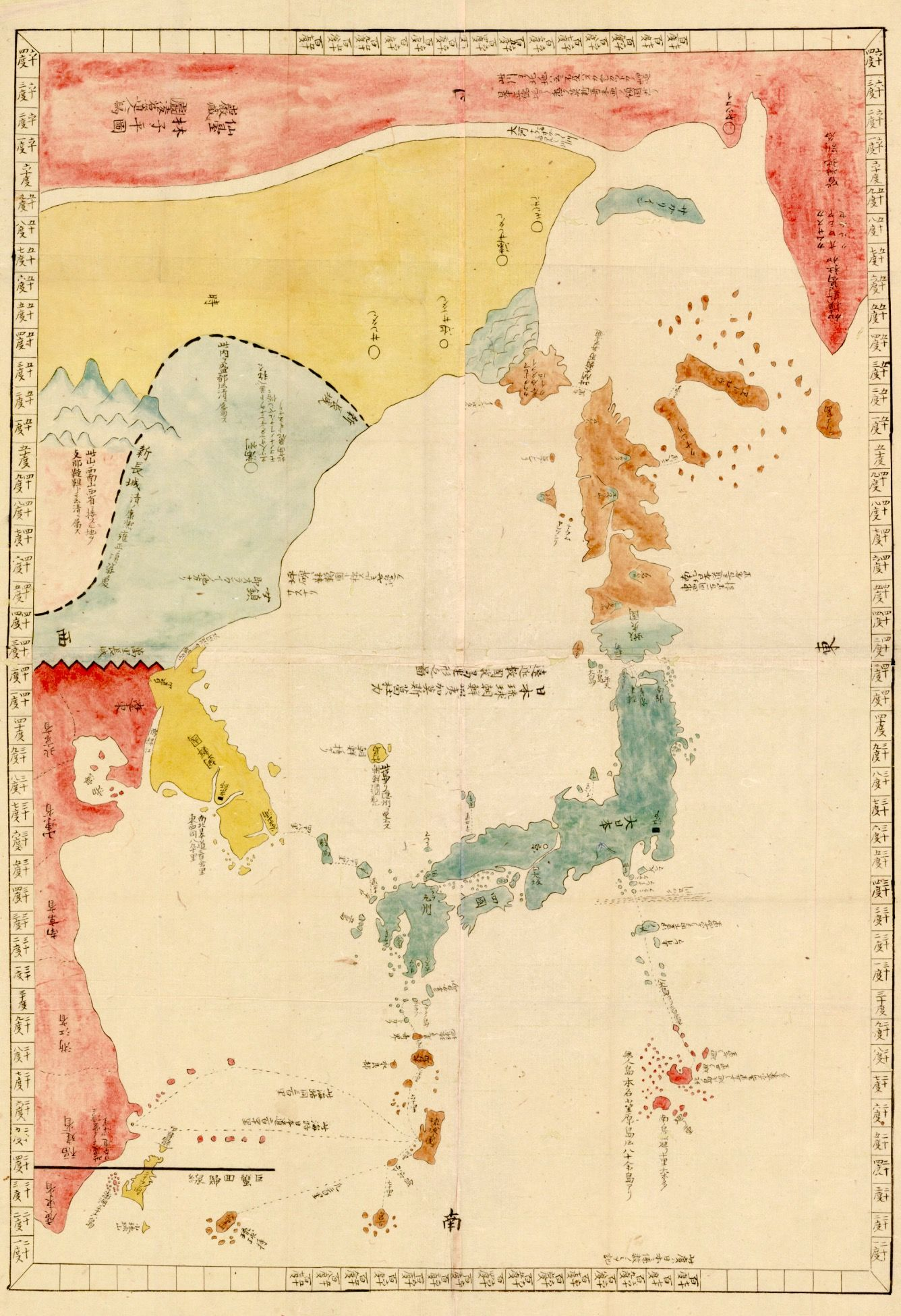 1800 japanese illustrated general route map of three countries 1800 japanese illustrated general route map of three countries japan korea russia creator hayashi shihei 1738 1793 gumiabroncs Gallery