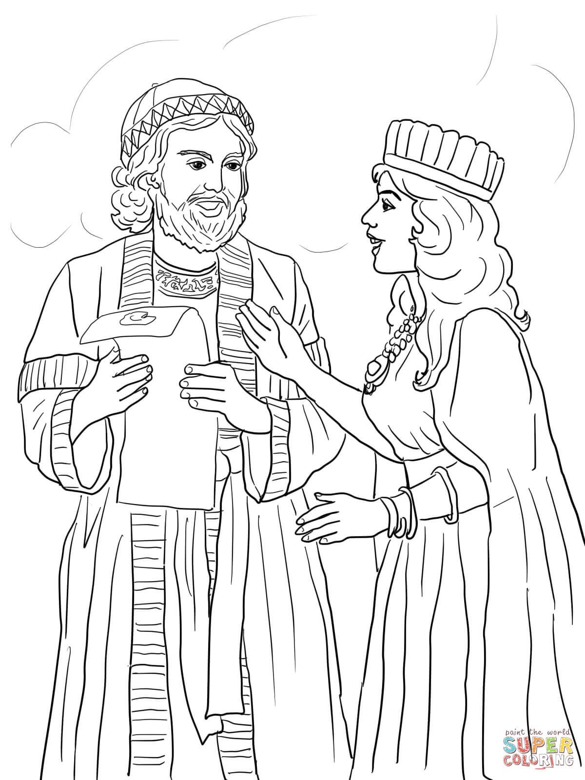 esther and mordecai with king's edict | super coloring