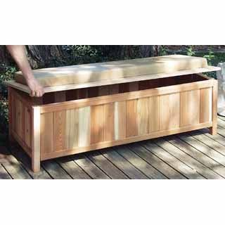 Cedar Storage Bench Outdoor Ready With Cushion W