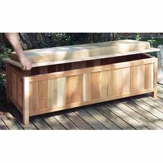 Amazon Com Cedar Storage Bench Outdoor Ready With Cushion Cedar