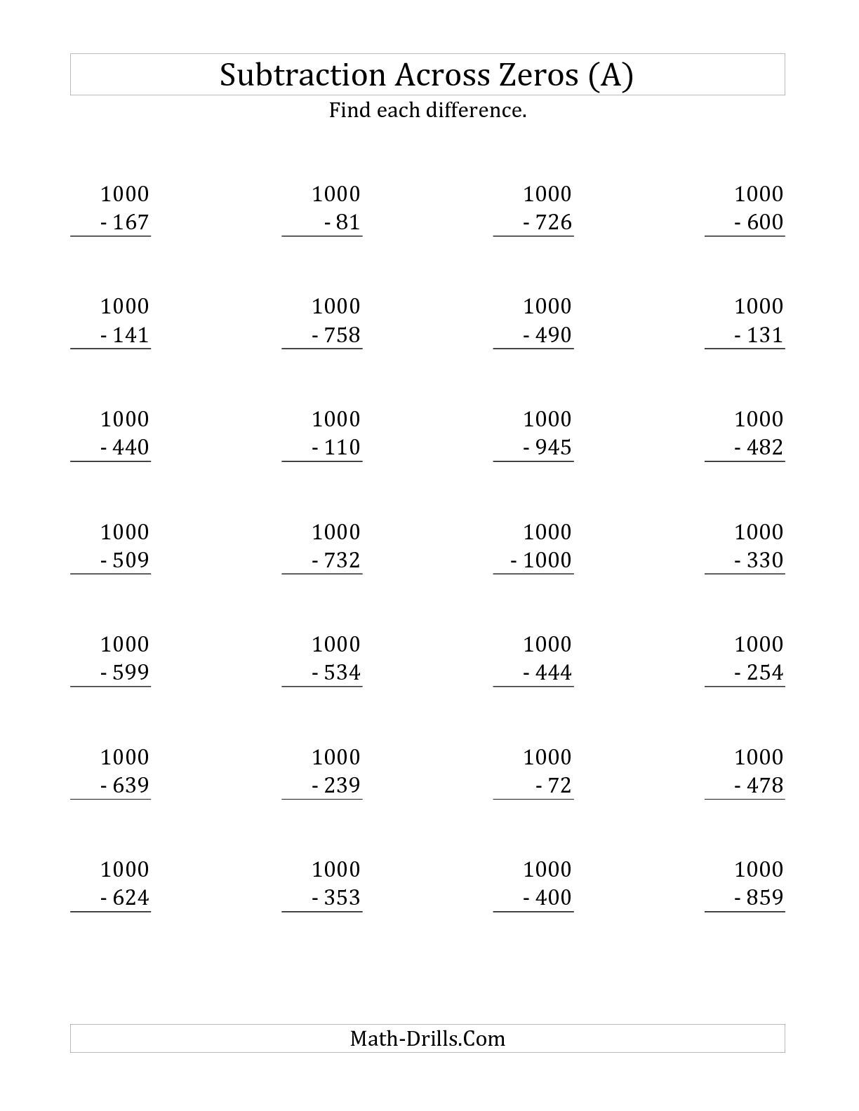 The Subtracting Across Zeros From 1000 A Math Worksheet From The Subtraction Worksheet Page A Subtraction Across Zeros Subtraction Worksheets Math Worksheets
