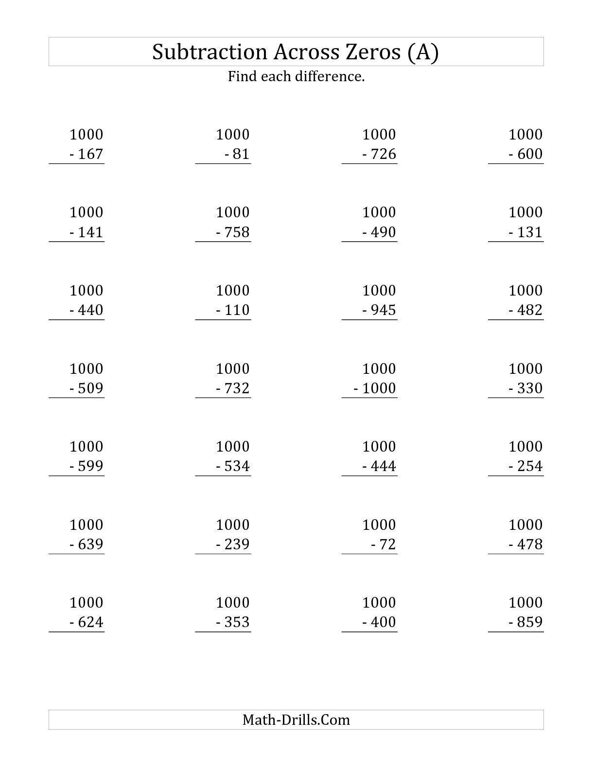 The Subtracting Across Zeros From 1000 A Math Worksheet From The Subtraction Worksheet Page At Math Worksheets Free Math Worksheets Subtraction Across Zeros [ 1584 x 1224 Pixel ]