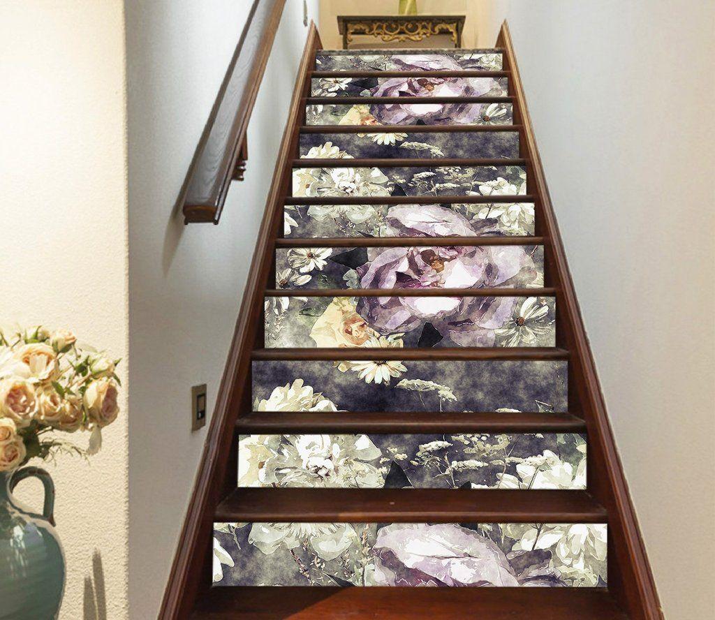 3D Purple Flowers 573 Stair Risers Stair risers, Stairs