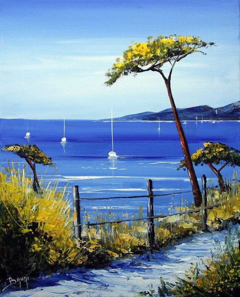Peinture - Chemin en bord de mer | Peinture paysage, Paysage de mer peinture,  Peinture de paysage acrylique