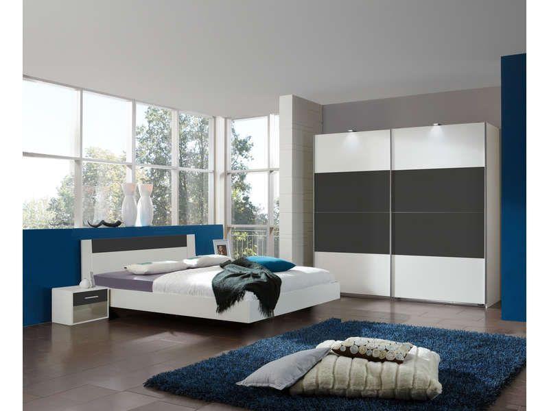 Chambre complète LOUNA coloris gris | Conforama | Bedroom furniture ...