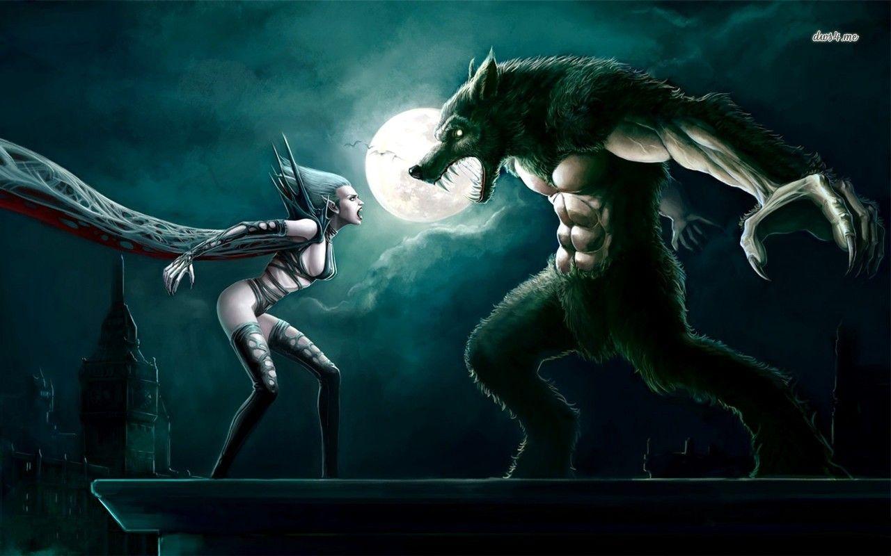 Vampire Vs Werewolf Hd Wallpaper Werewolf Art Werewolf Vs