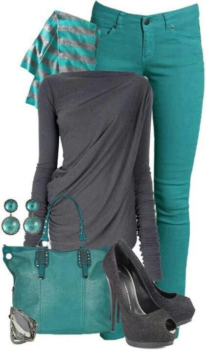 Grey and turquoise