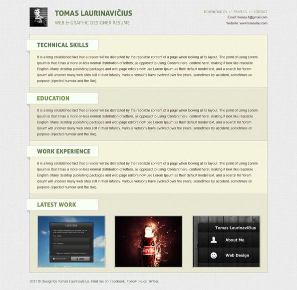 Create a Minimal Resume Website Design in Photoshop Geeky Stuff