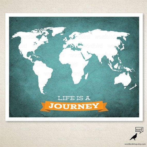 Life is a journey world map by wordbirdshop on etsy world maps life is a journey world map by wordbirdshop on etsy gumiabroncs Gallery