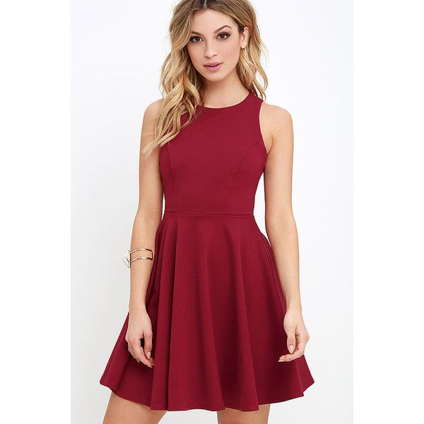 Stylish Ways Berry Red Skater Dress ($48) ❤ liked on Polyvore featuring dresses, red, going out dresses, knit dress, skater skirt, flared skater skirt and skater dress
