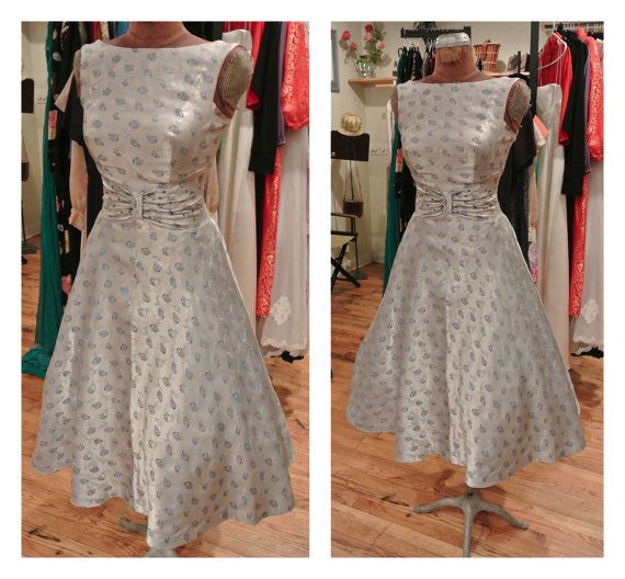 1950s Silver Novelty Dog Print Party Dress By ShopBetsysBoutique