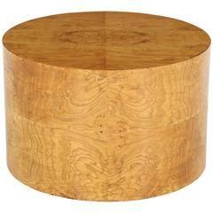 1970s Milo Baughman Burl Wood Drum Shaped Cocktail Table