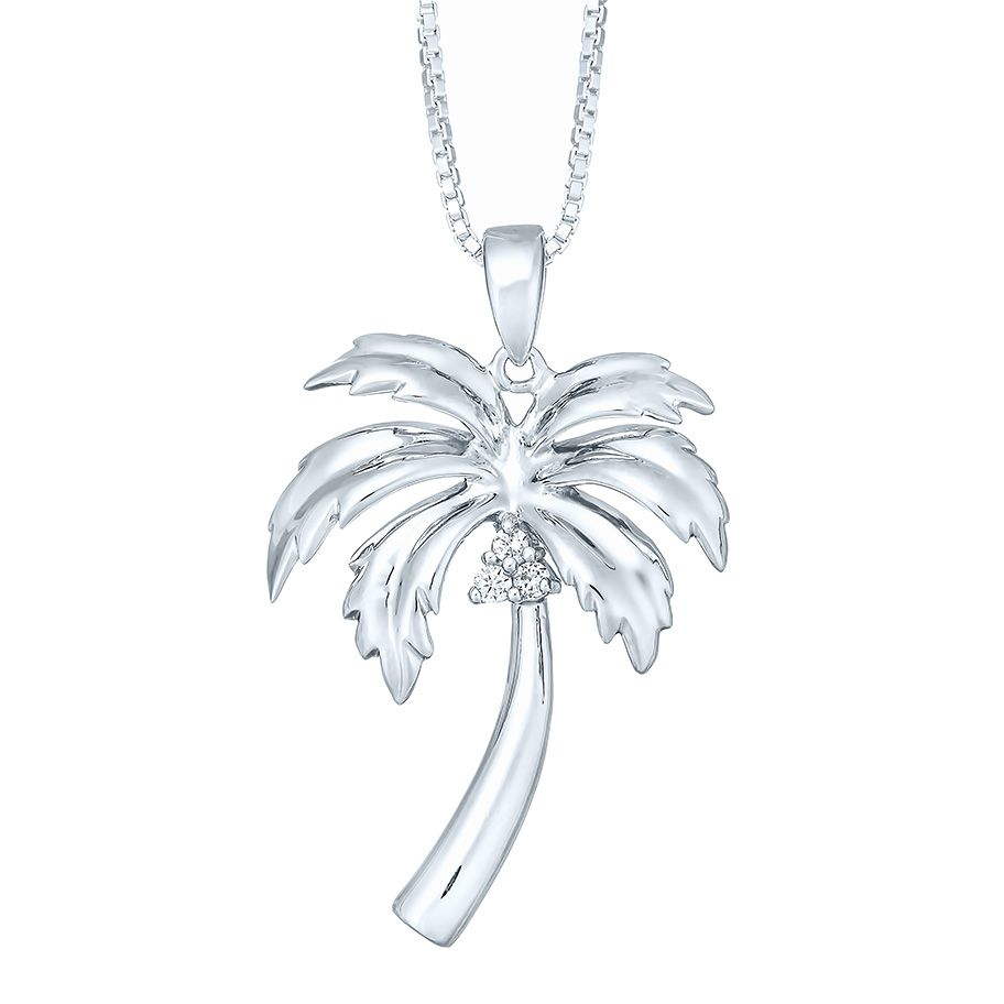 STERLING SILVER TROPICAL STYLE PALM TREE CHARM WITH BOX CHAIN NECKLACE