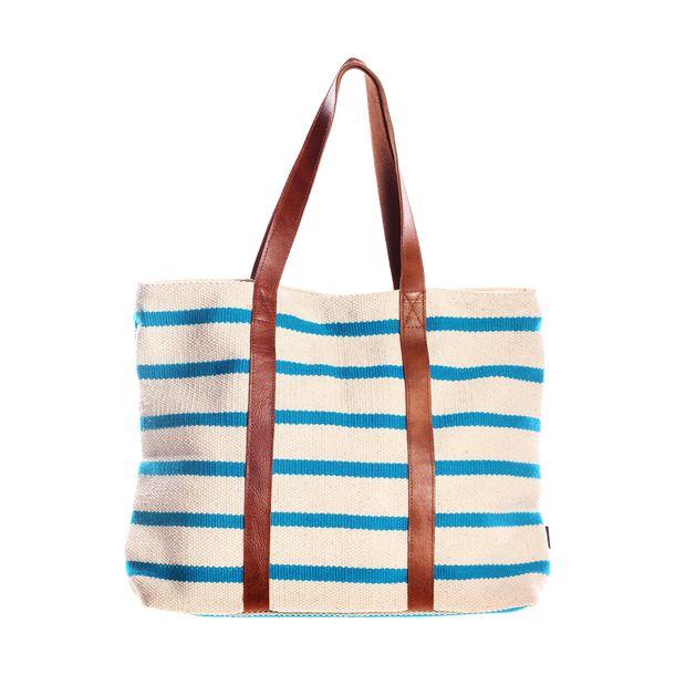 Canvas Leather Tote in Aqua (more colors):  love stripe